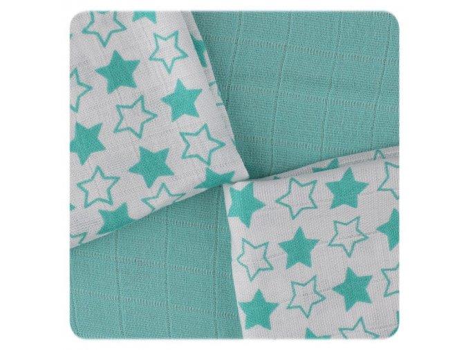 bambusove ubrousky xkko bmb 30x30 little stars turquoise mix 84b