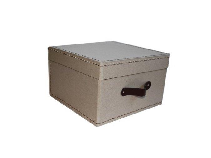 Kazeto Šitá hranatá krabice 26 cm přírodní, držadlo hnědé