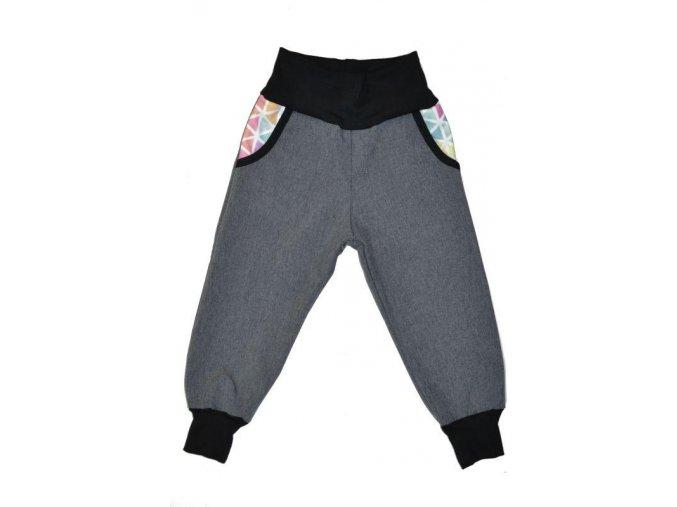 Dětské kalhoty softshellové šedá žíhaná akvarel