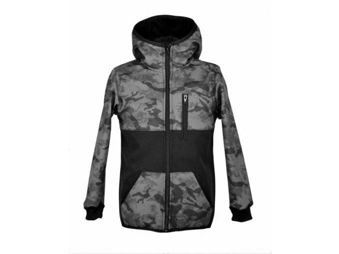 Softshellová bunda se zipovou kapsou ZIMNÍ šedý maskáč