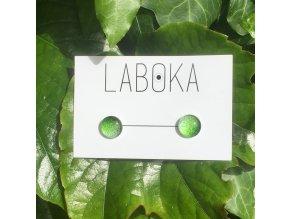 Laboka skleněné náušnice, Zelená gradace, 21