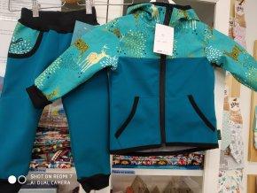 Shara Dětská softshellová bunda a kalhoty - tyrkysová s jeleny vel. 92