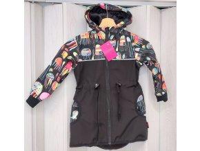 Shara dětský softshellový kabátek stažený v pase - tyrkys/medúzy vel 110