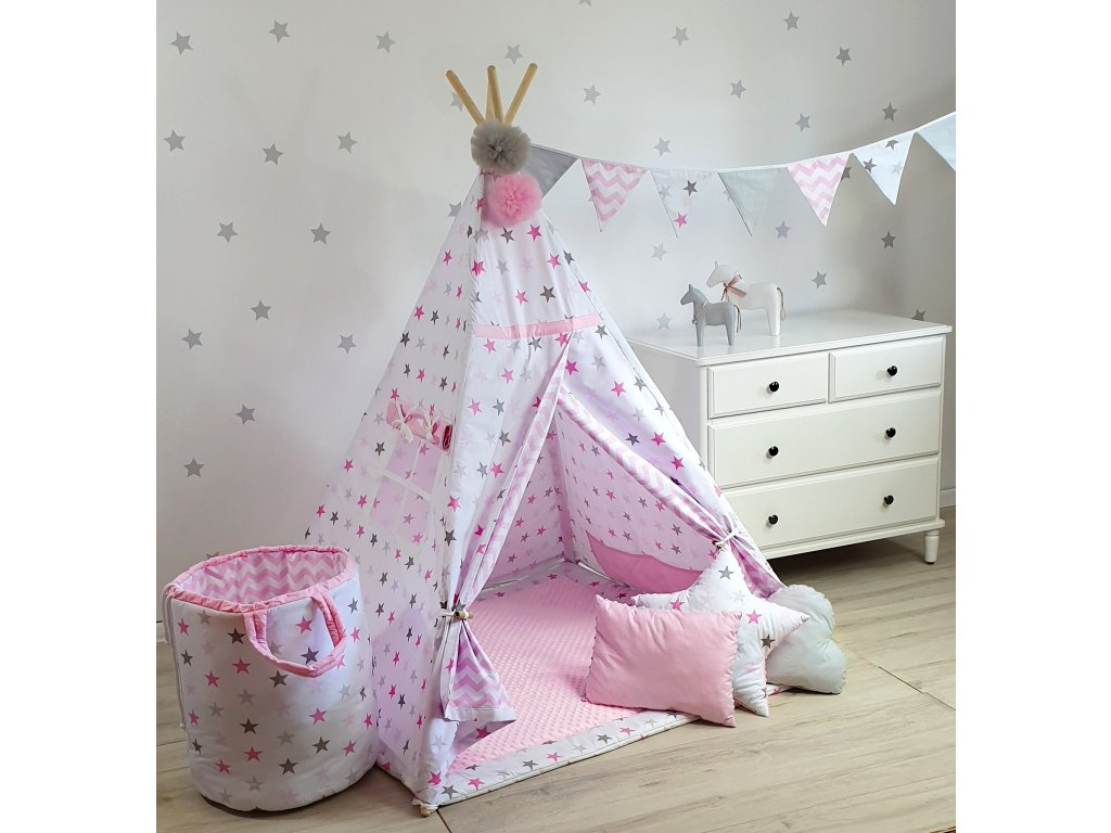 Detský TeePee stan Pink Stars