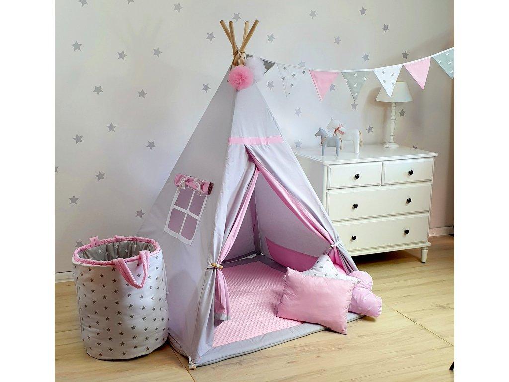 Detský TeePee stan Pink Grey
