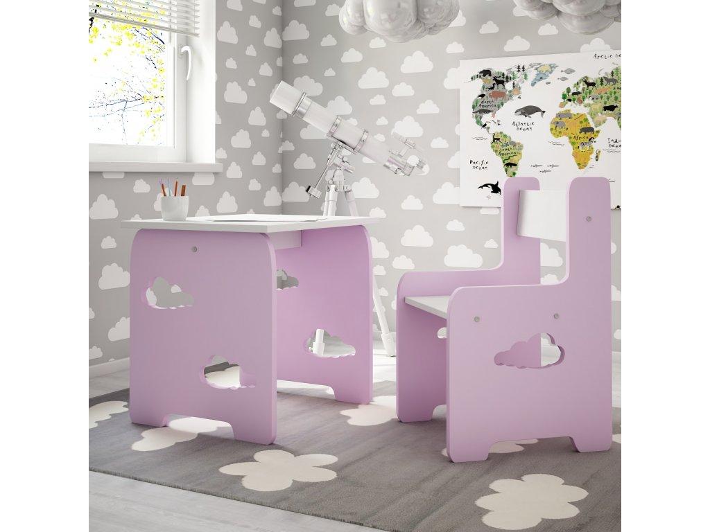 Stôl so stoličkou Obláčik Pink