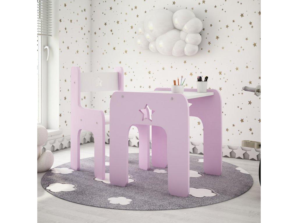Stôl so stoličkou Hviezda Pink