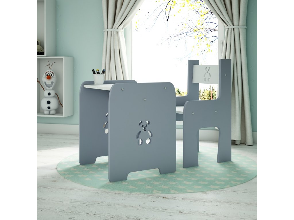 Stôl so stoličkou Macko Grey