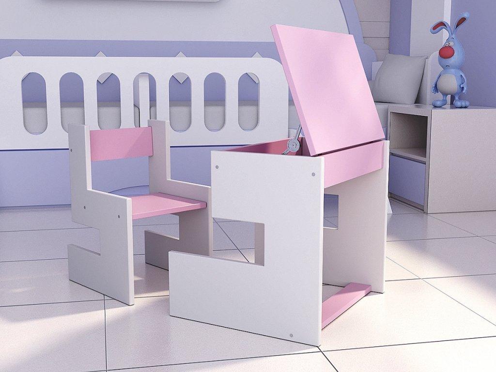 Detský písací stôl s odkladacím priestorom fraay ružový
