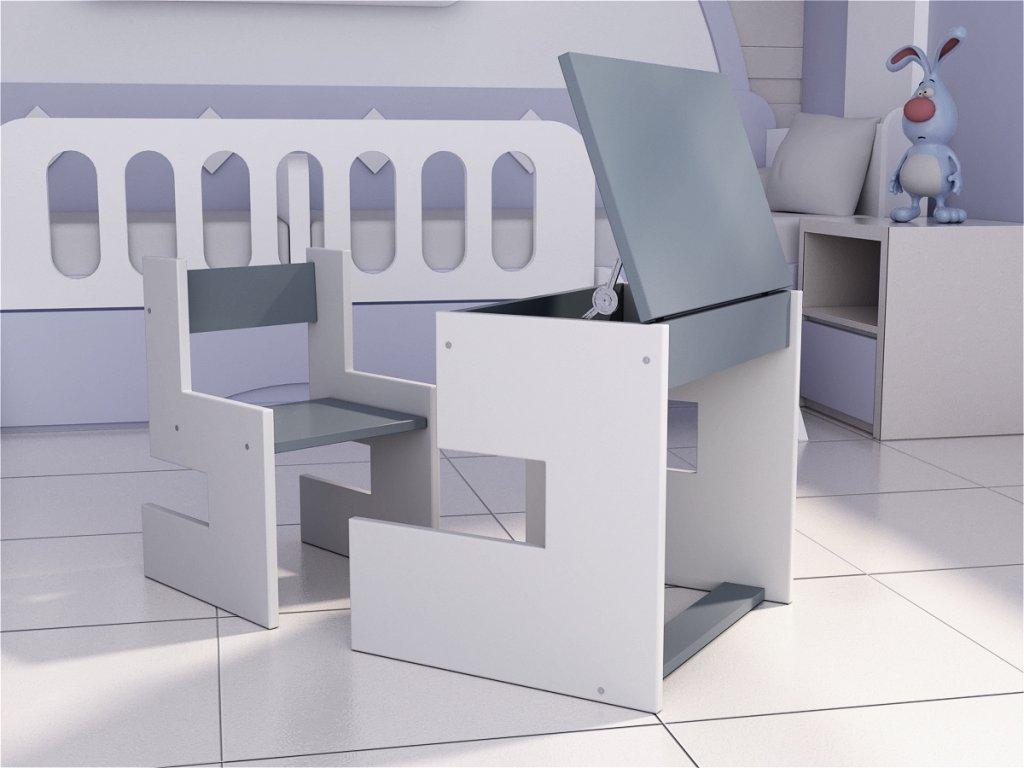 Detský písací stôl s odkladacím priestorom fraay šedý