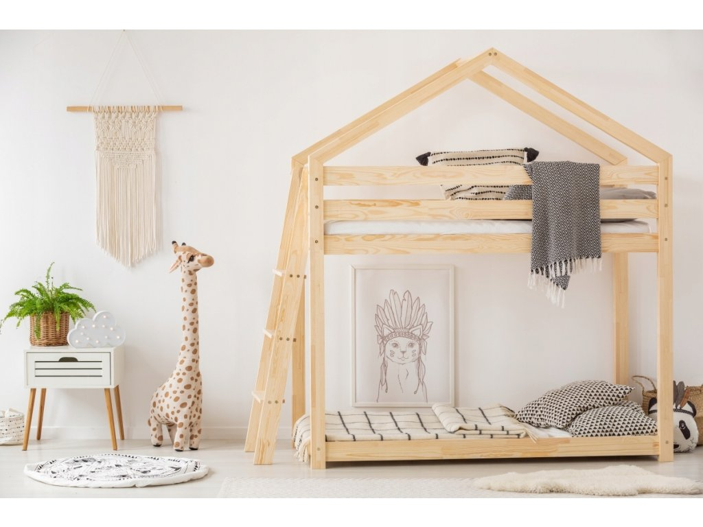 Detská poschodová posteľ v tvare domčeku MILA DMPB
