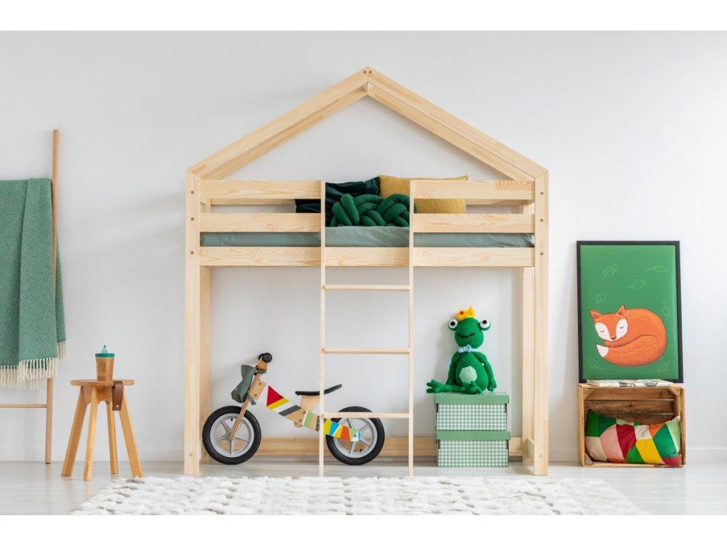 Detská poschodová posteľ v tvare domčeku MILA DMPA