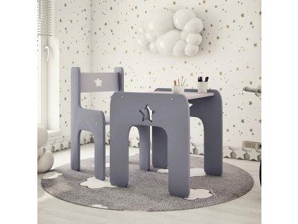 Stôl so stoličkou Hviezda Grey