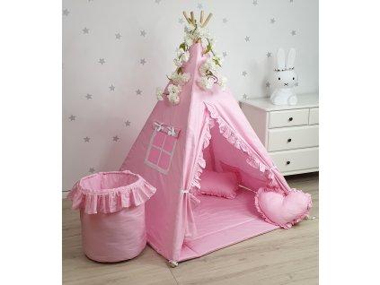 Detský TeePee stan s volánikmi ružový