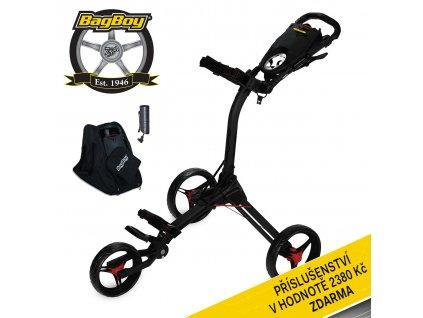 Ruční tříkolový golfový vozík Bag Boy COMPACT C 3 Black/Red