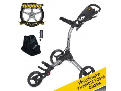 Ruční tříkolový golfový vozík Bag Boy COMPACT C 3 Silver/Black