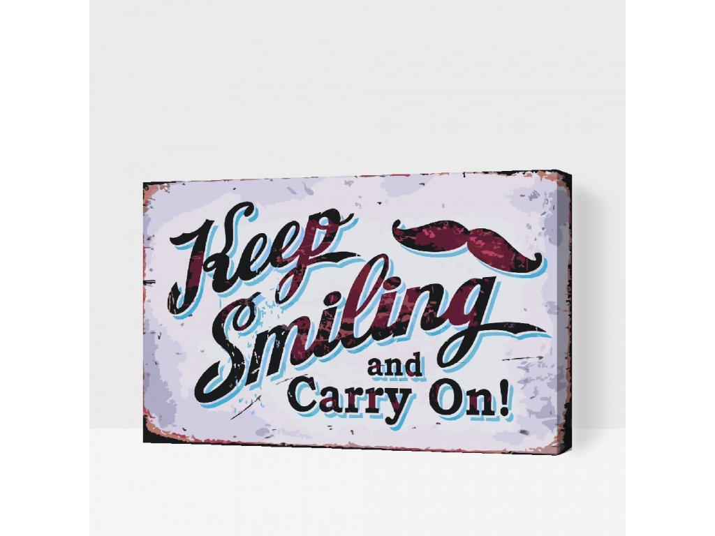 Festés számok szerint - KEEP SMILING (Rámování Bez rámu (pouze plátno), Velikost 40x60cm)
