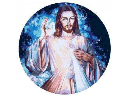MALOVÁNÍ PODLE ČÍSEL - JEŽÍŠ (Rámování Bez rámu (pouze plátno), Velikost 50x50cm)