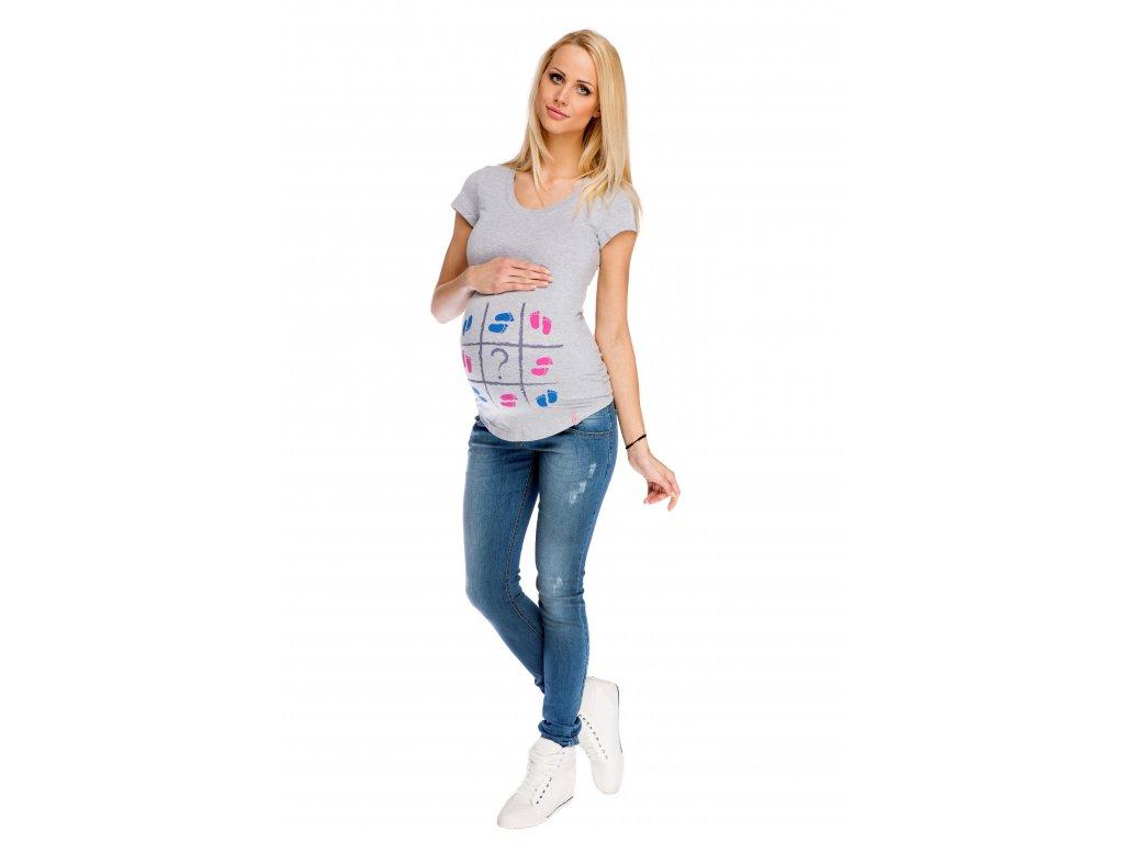 Těhotenské kalhoty demi medium a těhotenské tričko s potiskem dětské ťapičky