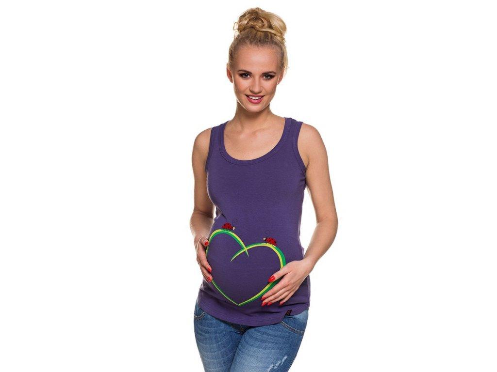 P194 Těhotenské tílko se zábavným potiskem Berušky na srdci fialové vše pro těhotenství