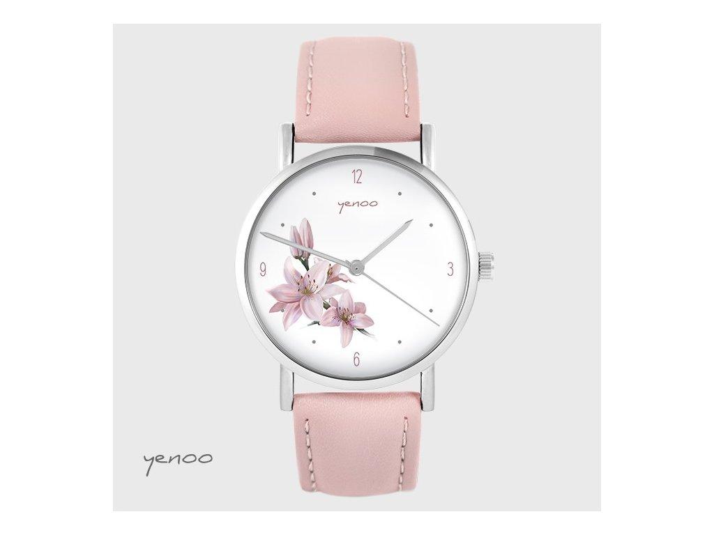 Hodinky - design Růžová lilie