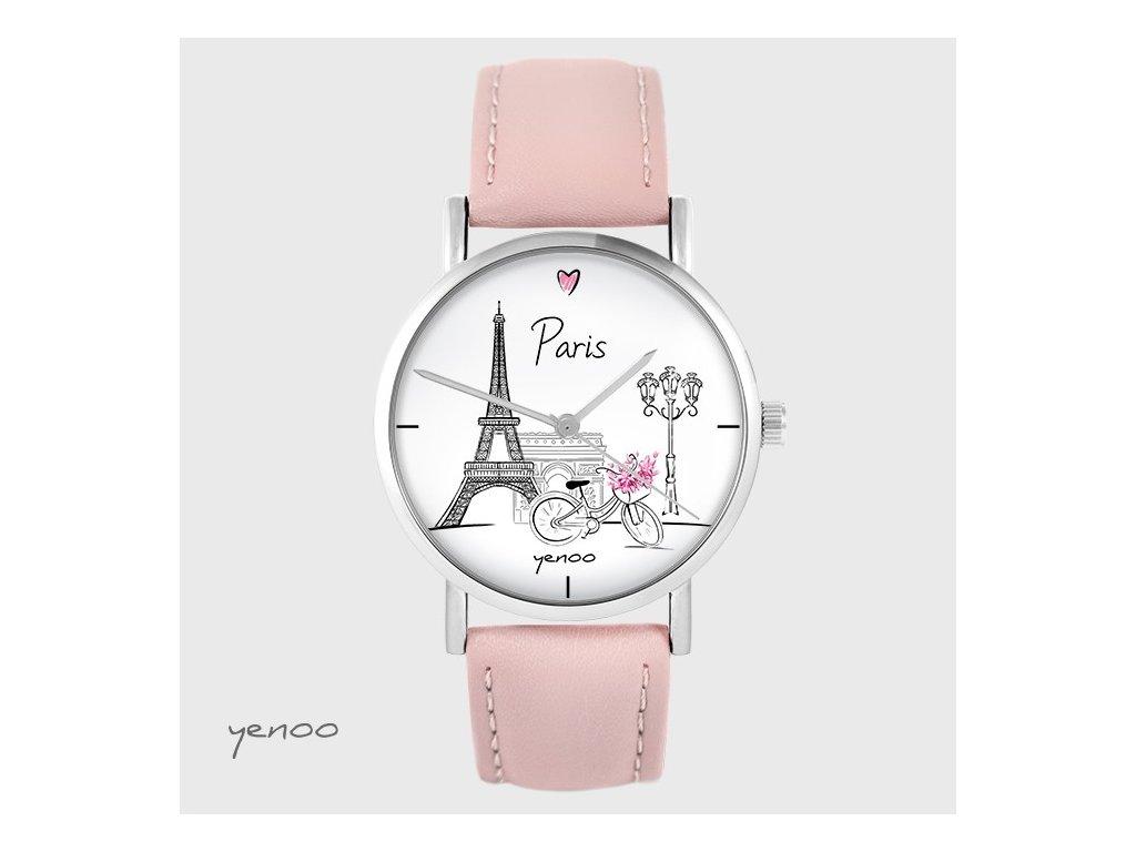 Hodinky - design Paříž - pastelově růžový kožený pásek