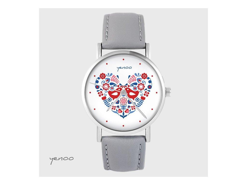 Lidoví ptáčci srdce - hodinky s grafickým designem