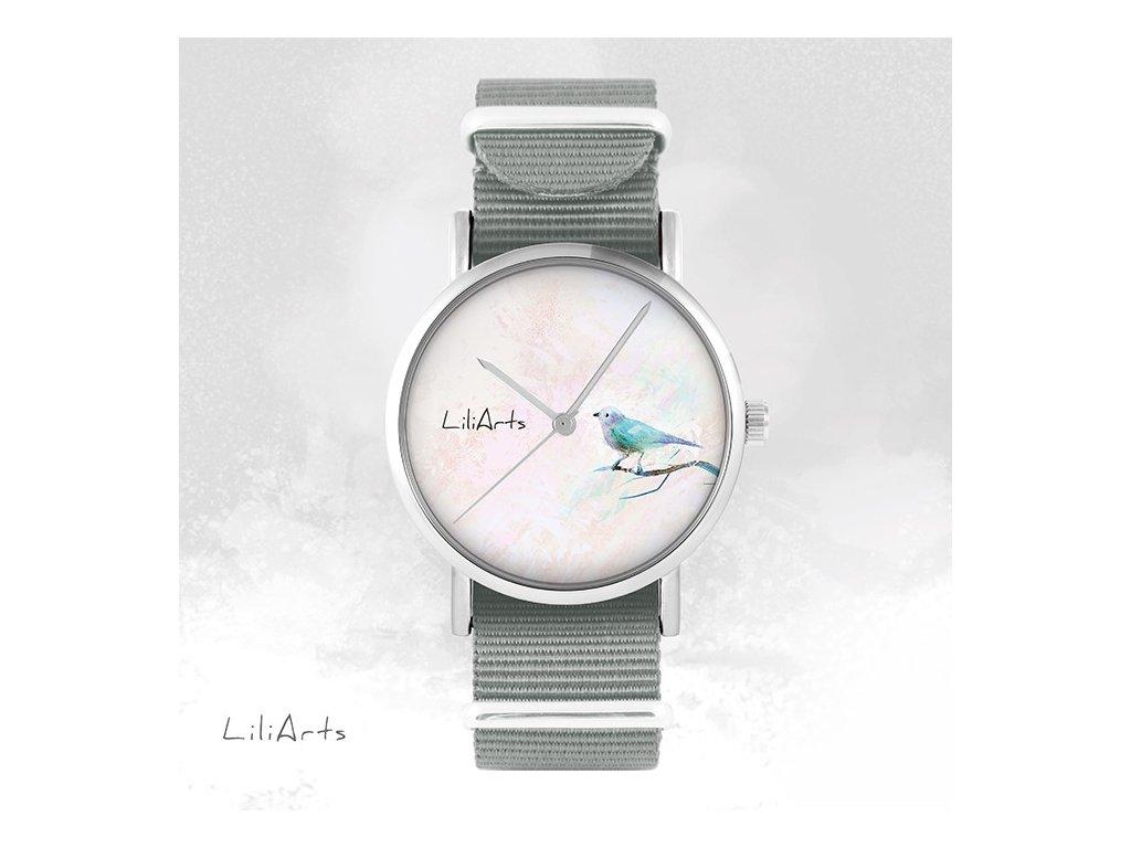 Tyrkysový ptáček - NATO pásek šedý - Hodinky s grafickým designem