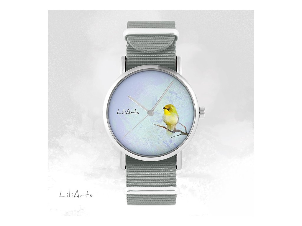 Hodinky - design Žlutý Ptáček - NATO šedý