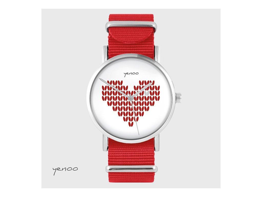 Hodinky - design Pletené srdce, NATO červený