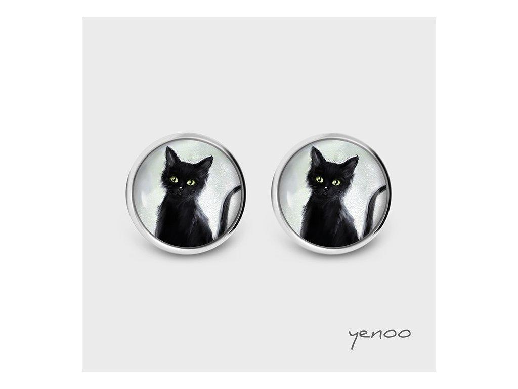 Černá kočka - Náušnice s grafickým designem