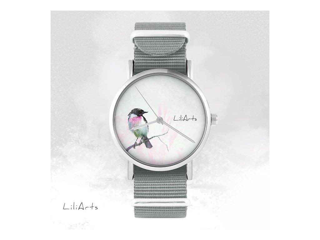 Ptáček s fialovým zabarvením - NATO pásek šedý - Hodinky s grafickým designem