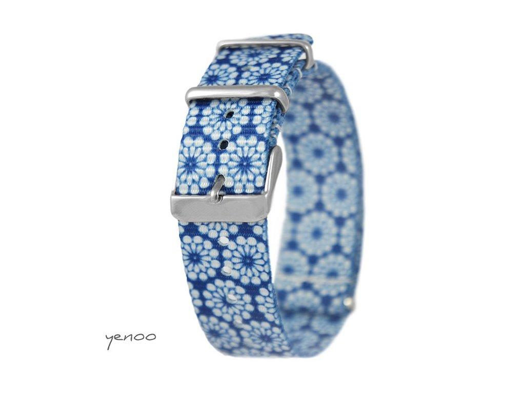 NATO náramek na hodinky modrý květovaný