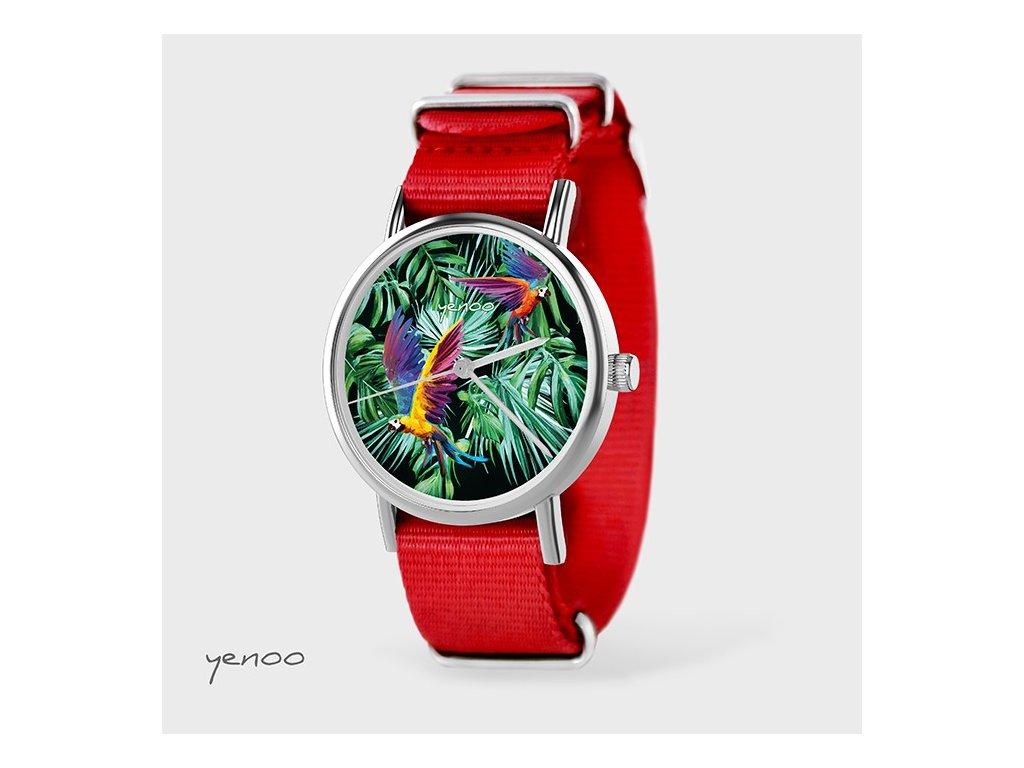Papoušci - NATO pásek červený - Hodinky s grafickým designem