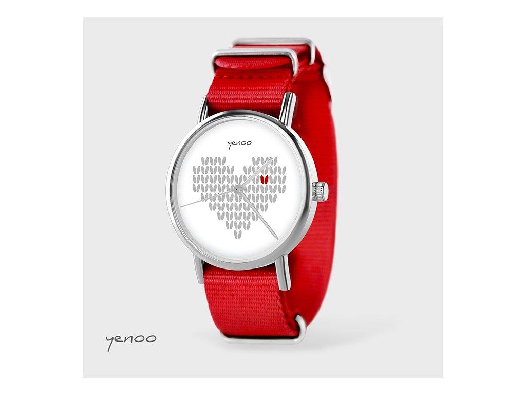 Pletené Srdce - NATO pásek červený - Hodinky s grafickým designem