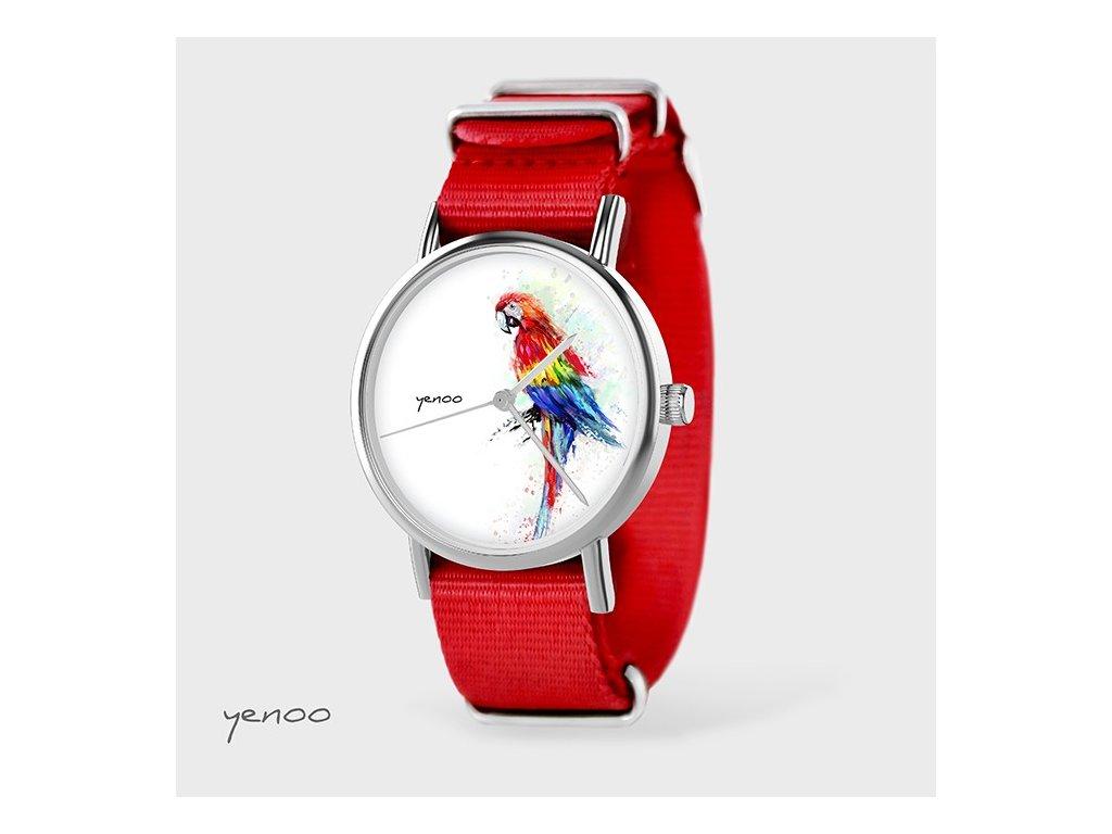 Papoušek Tropical - NATO pásek červený - Hodinky s grafickým designem