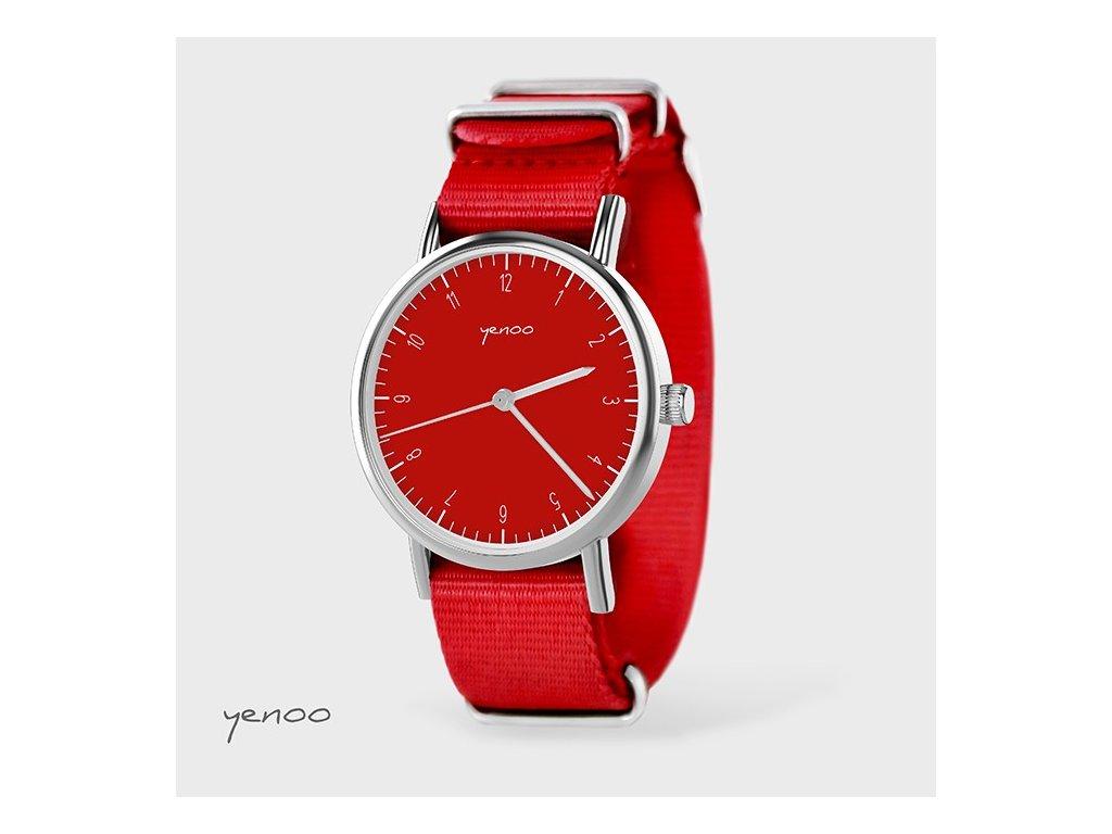 Jednoduchá elegance červená - NATO červený - Hodinky s grafickým designem