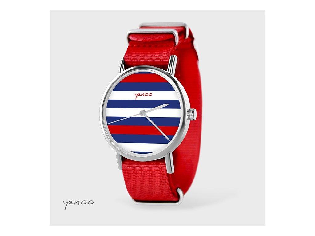 Proužky - NATO pásek červený - Hodinky s grafickým designem