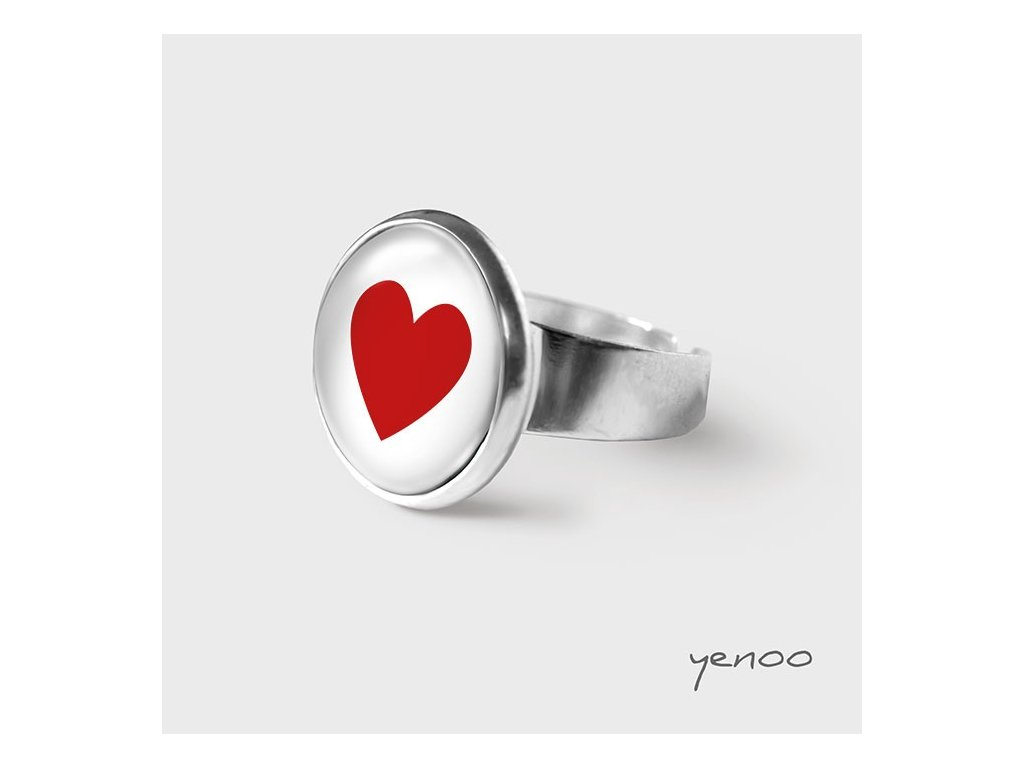 Srdce - Prstýnek s grafickým designem