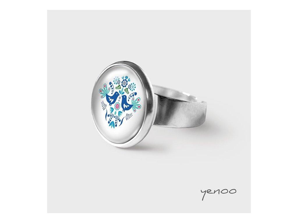 Lidoví ptáčci modří - Prstýnek s grafickým designem