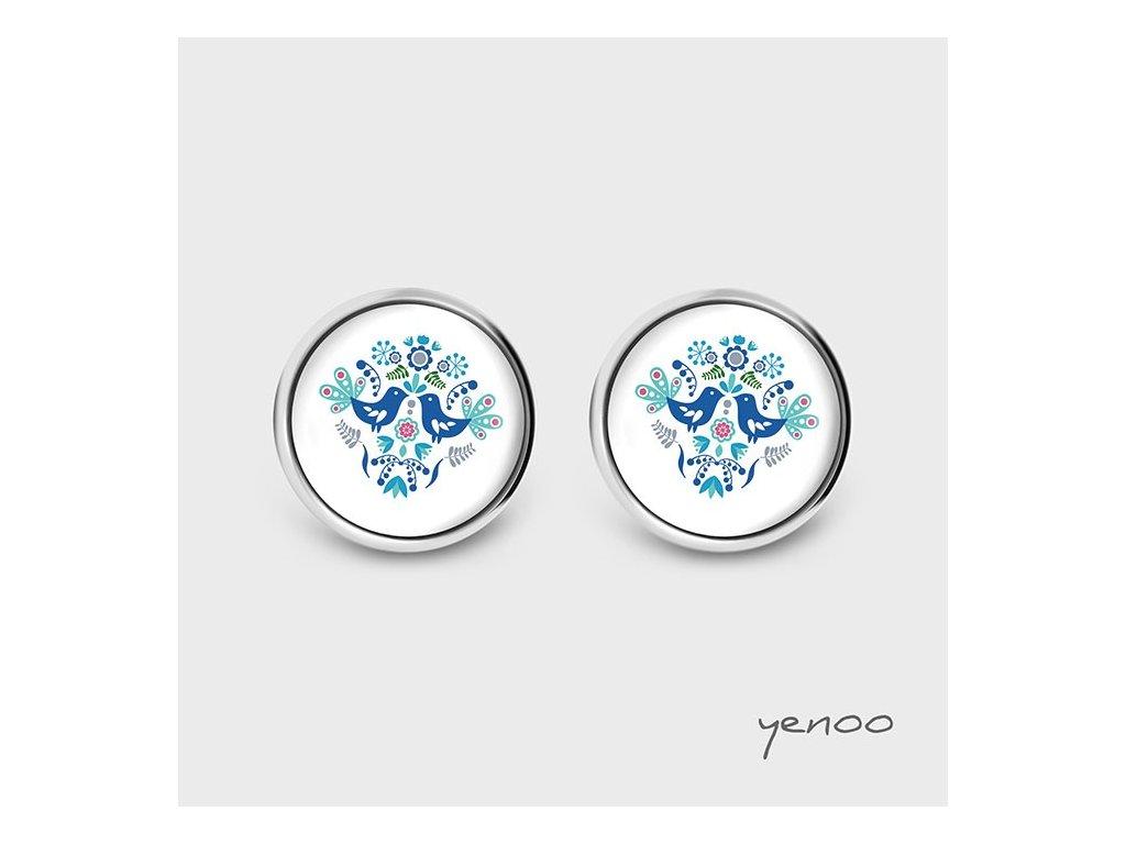 Lidoví ptáčci modří - Náušnice s grafickým designem