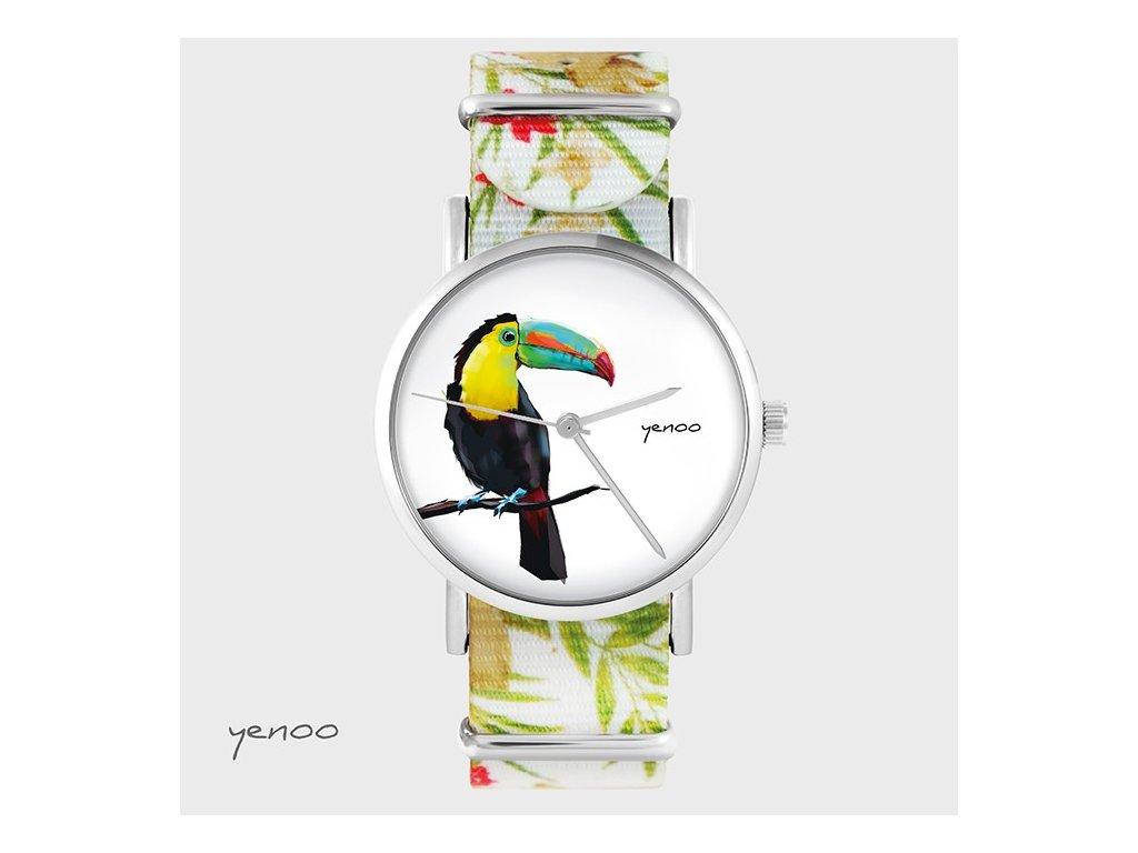 Tukan - NATO pásek květovaný - Hodinky s grafickým designem