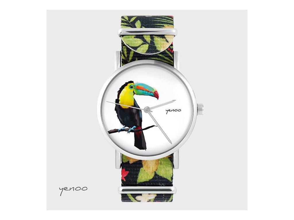 Tukan - NATO pásek květovaný černý - Hodinky s grafickým designem