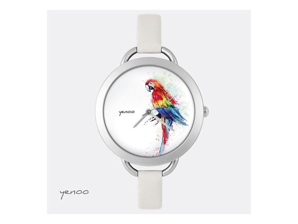 Papoušek  - Kožený pásek tenký šedý - Hodinky s grafickým designem