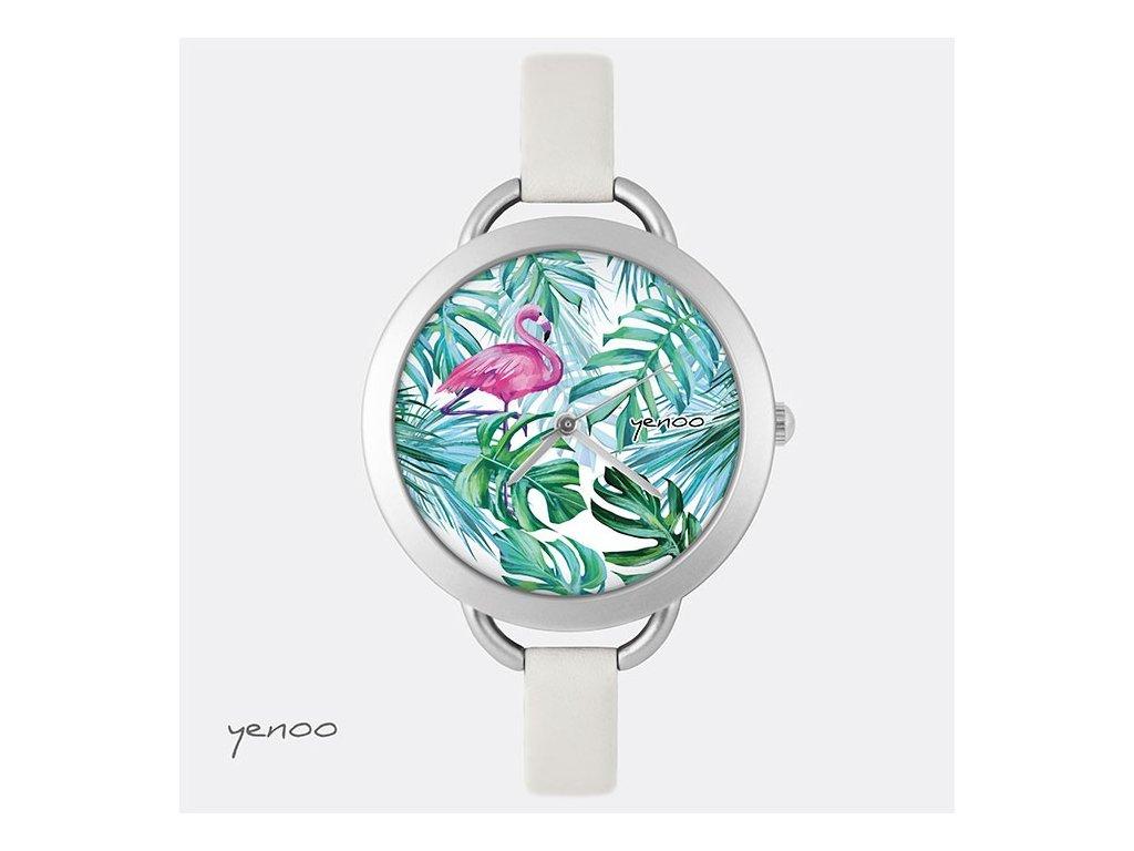 Plameňák - Kožený pásek tenký šedý - hodinky s grafickým designem