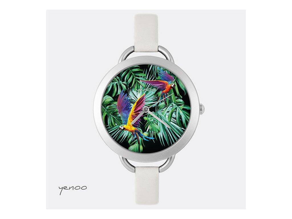 Papoušci Ara - Kožený pásek tenký šedý - Hodinky s grafickým designem