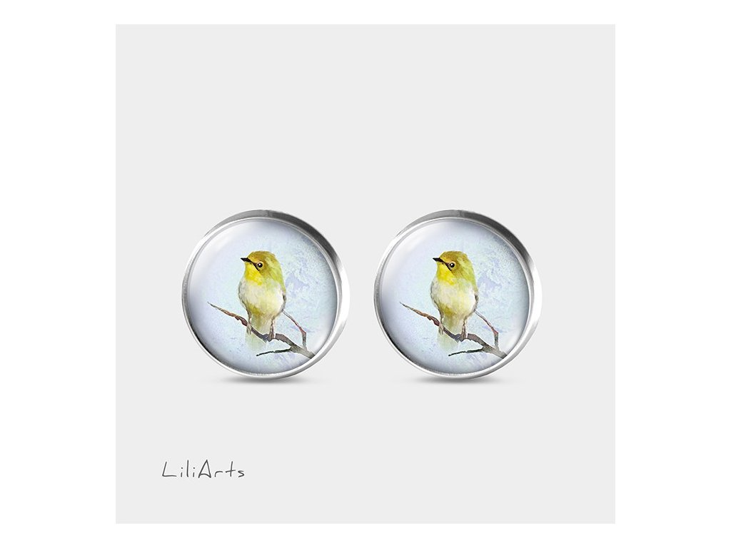 Žlutý ptáček - Náušnice s grafickým designem