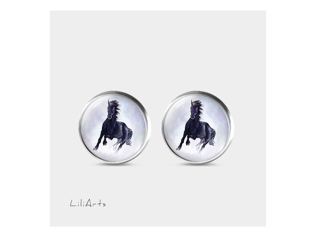 Černý kůň - Náušnice s grafickým designem