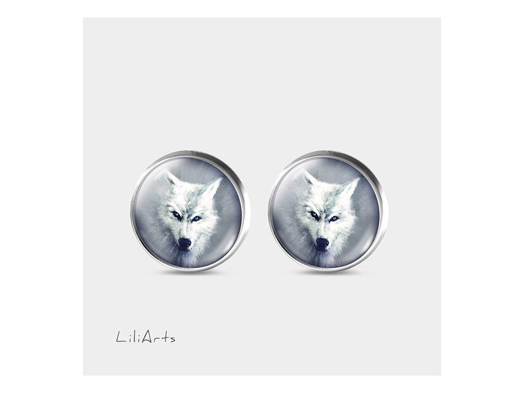 Bílý vlk - Náušnice s grafickým designem