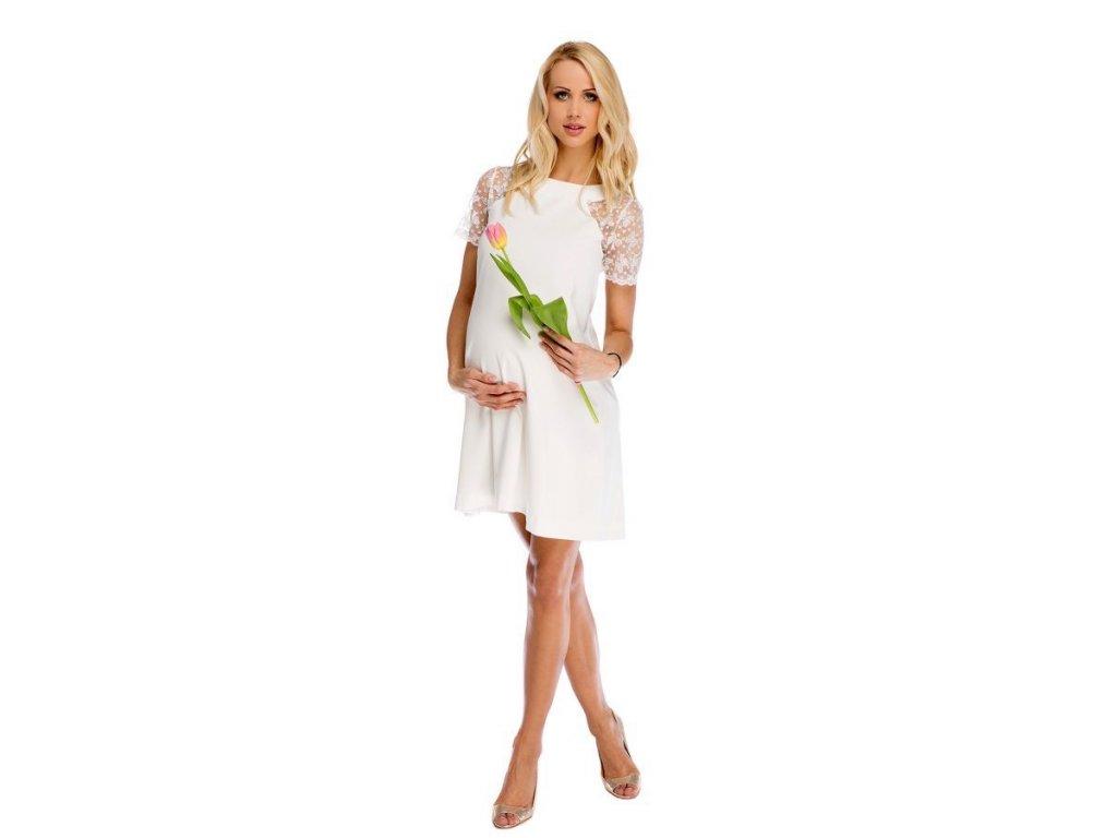 P315 Těhotenské šaty Julia bílé s krajkou na ramenou 2